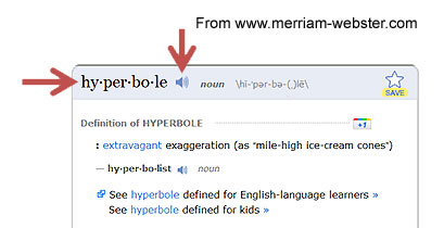 Web Page At Merriam Webster.com With The Definition For The Word Hyperbole  Circled