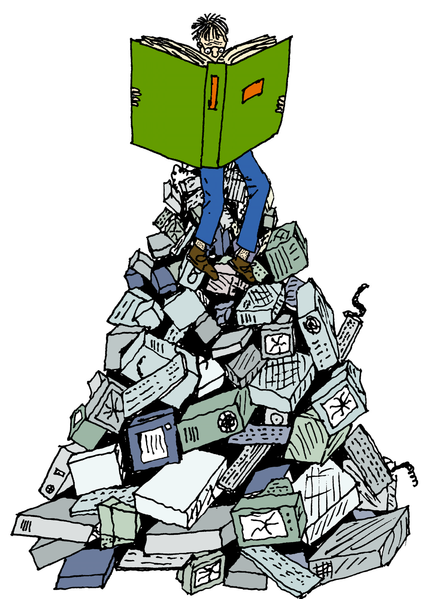 A cartoon of a man using a reference book while sitting on top of a pile of technological devices