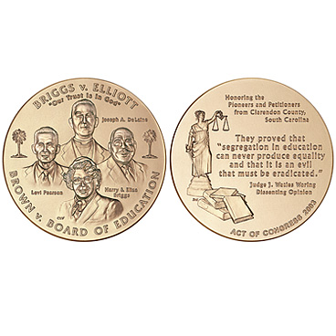 A photograph of both sides of a gold coin minted to commemorate the Brown V Board of Education case