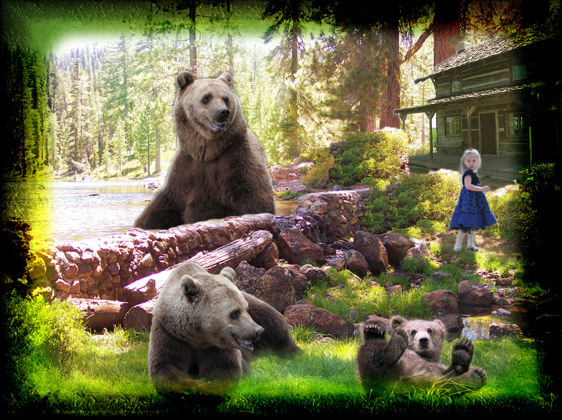 photo of a young girl near a cabin in the wood and three bears—large, medium, and small-surrounding the cabin
