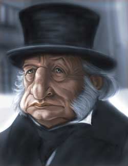 A caricature painting of Ebenezer Scrooge. He is an older man wearing a top hat and a stern expression.