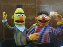 A photograph of the popular Sesame Street Muppet duo Ernie and Bert