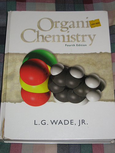 A photograph of an Organic Chemistry textbook