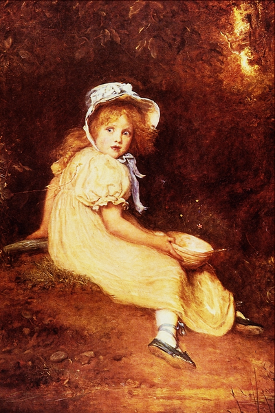 "A painting of the character 'Little Miss Muffett."" She is a surprised, or frightened little girl wearing a bonnet and holding a bowl with a spoon in it."