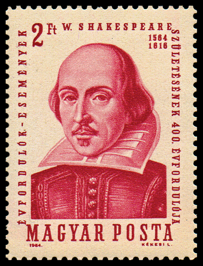 A Hungarian postage stamp with a picture of William Shakespeare on it.
