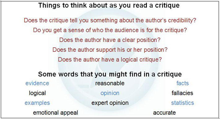 words to critique an essay Critical analysis the purpose for writing a critique is to evaluate somebody's work (a book, an essay, a movie, a painting) in order to increase the reader's understanding of it a critical analysis is subjective writing because it expresses the writer's opinion or evaluation of a text.