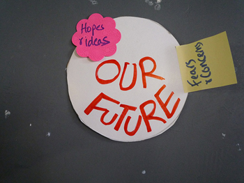 A photograph of ideas posted on a board. They read: 'Hopes and Ideas', 'Fears and Concerns', and 'Our Future.'
