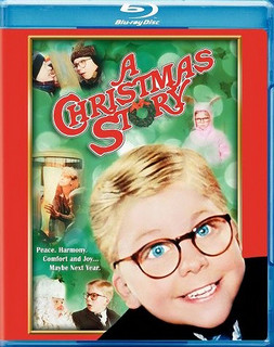 "The DVD case of the movie ""A Christmas Story."" It has a photograph of the main character, young boy with large glasses, and scenes from the movie."