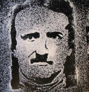 An image/portrait of author Edgar Allen Poe made up of dots