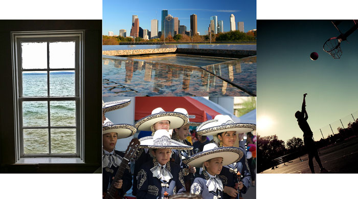 a collage of four photographs.  1st photograph: A photograph taken of a window that looks out onto the sea; 2nd photo: A photograph of the Houston, Texas downtown skyline; 3rd photo: A photograph of a youth Mariachi band in full mariachi uniform; 4th photo: A photograph of a young man shooting a basketball on an outdoor court