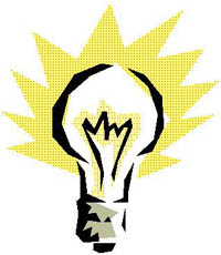 A graphic of a light bulb with light radiating from it