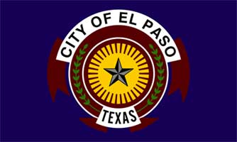 An image of the flag of El Paso, TX. It is a star surrounded by the words City of El Paso, Texas.