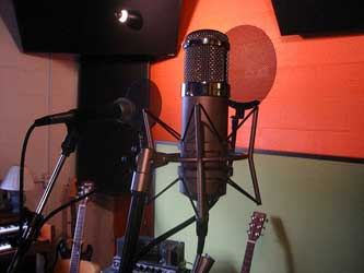 A photograph of a microphone in a recording studio.