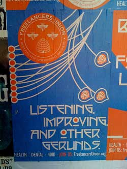 """photo of a blue and orange sign that reads, """"Listening. Improving. And Other Gerunds."""""""