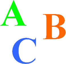 A graphic of the capital letters A, B, and C