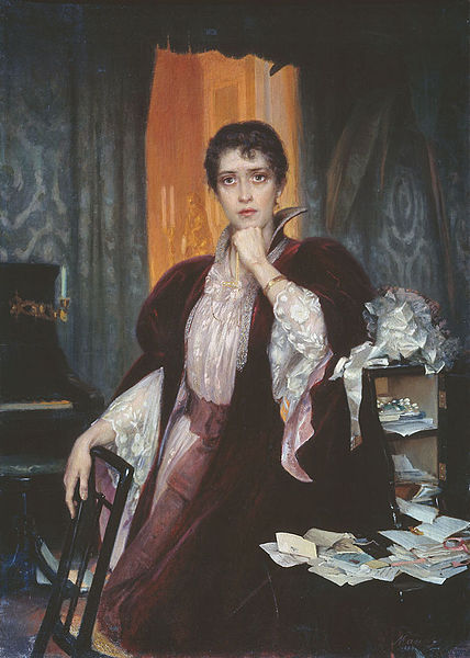 A portrait/painting of the character Anna Karenina. She is a wearing an 18th century gown and is surrounded by envelopes and letters.