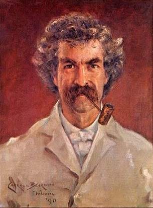 painting of writer Mark Twain with a pipe in his mouth