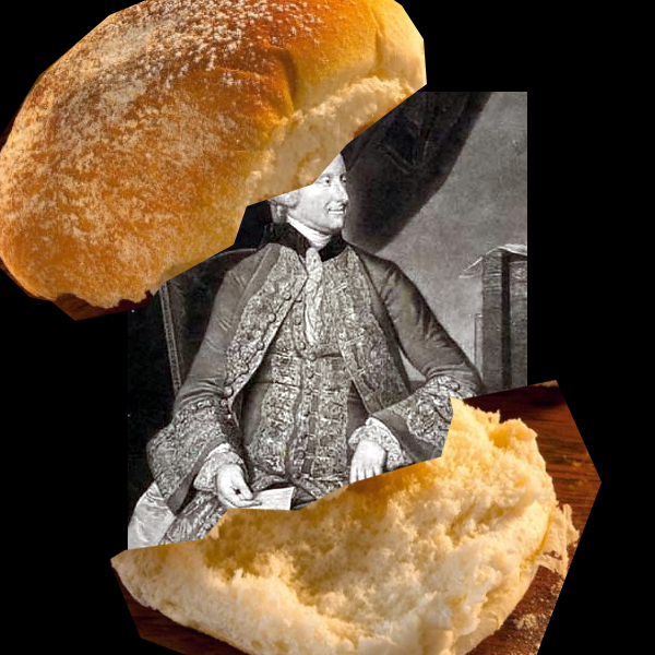 "a collage: a sandwich containing ad drawing of an earl in the middle to illustrate the ""Earl of Sandwich"""