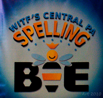 """blue, orange, and black letters on graphic that say """"WITF'S Central PA Spelling Bee"""""""
