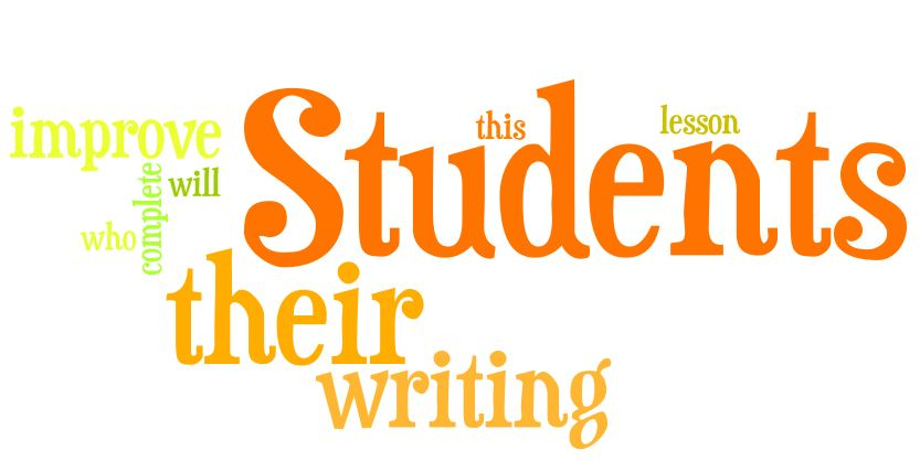 "A word cloud that uses the words from this sentence ""Students who complete this grammar lesson will improve their writing."""