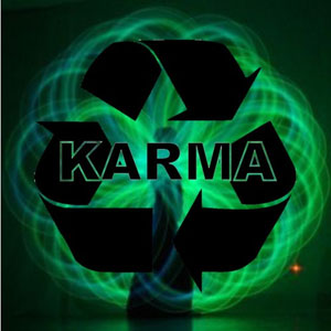 """The symbol for Recycling with the word """"Karma"""""""