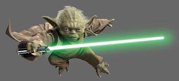 A photograph/movie still of Yoda jumping through the air holding a light saber