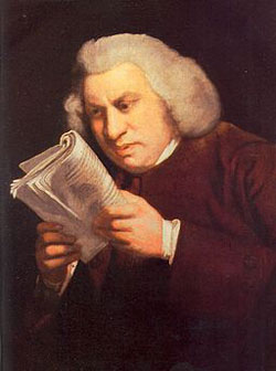 A painting of author Samuel Johnson reading a newspaper or pamphlet