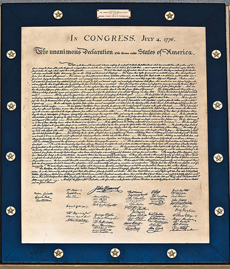 A photograph of a copy of the Declaration of Independence of The United States of America