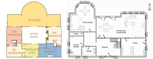 An architectural plan of a six room first floor of a house and a blueprint of a ground floor of a large, six room house
