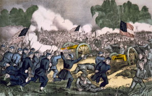 A painting depicting the Battle of Gettysburg during the American Civil war