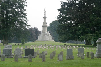 A photograph of the Soldiers Monument at the Gettysburg National Cemetery