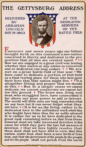 A poster of President Abraham Lincoln's Gettysburg Address with a picture of President Lincoln at the top of it