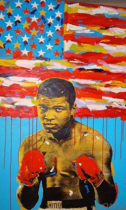 A poster of former heavyweight champion Mohammad Ali as a young man. He is wearing boxing trunks and boxing gloves.