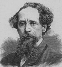 A drawing portrait of author Charles Dickens. He is a man in late middle age with a full beard and moustache.