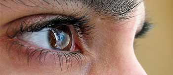 A photograph of a person's eye watching something