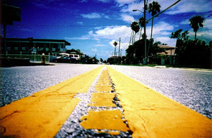 A photograph taken by a camera sitting on the ground, showing the dotted yellow stripe down the middle of an empty road.