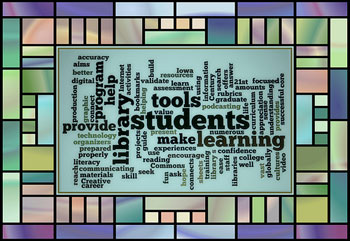 A wordle of words related to library, or librarian