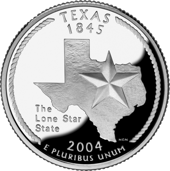 """A photograph of a Texas quarter from 2004. It has an image of the actual state of Texas emblazoned with a five pointed star with the words """"the Lone Star State"""" underneath."""