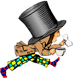 drawing of the Mad Hatter from Alice in Wonderland running with a cup in one hand and paper in the other. He wears brightly colored pants and a huge top hat.