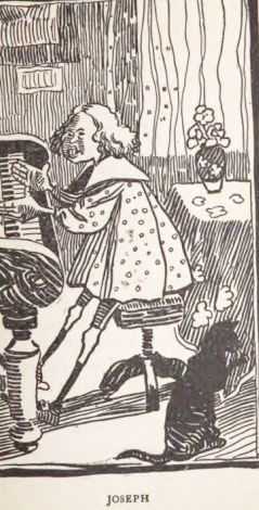 """Crosshatched drawing (an engraving or woodcut) of Joseph, an illustration for """"The Fable of the Parents Who Tinkered with the Offspring"""""""
