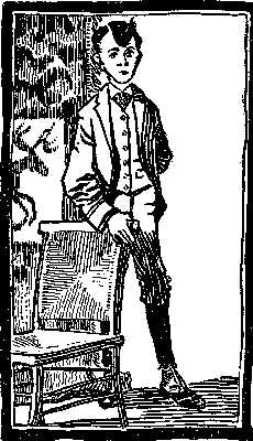 Woodcut or engraved drawing of a young man in knickers, coat, vest, and tie