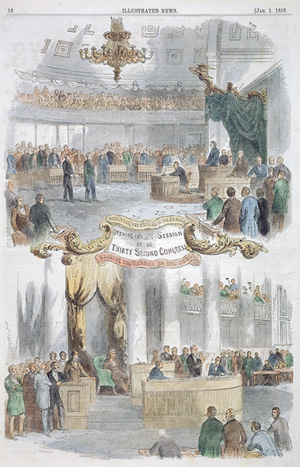 wood engraving of a session of the 32nd US Congress depicting men gathered in the chamber to hear speeches.