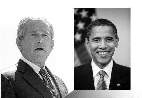 Headshot of presidents George Bush, Barak Obama and German Dictator Adolf Hitler