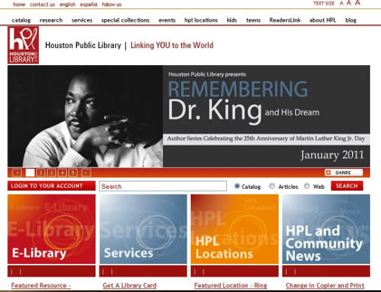 Houston Public Library homepage with image of Martin Luther King, Jr. and links to the online catalog, library services, and specific location and community information
