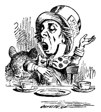 Black and white line drawing of the Mad Hatter from Alice in Wonderland. He seems to be proclaiming something