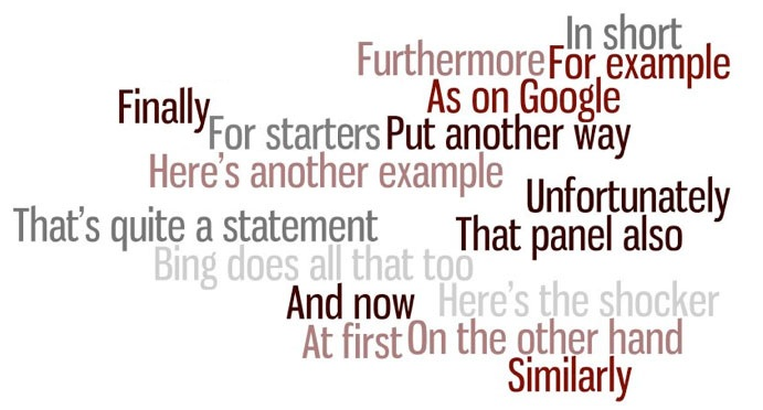 """Word Collage of transitional words and phrases: """"In short, Furthermore, For example, As on Google, Finnaly, For starts, Put another way, Here's another example, Unfortunately, That's quite a statement, That panel also, Bing does all that too, And now, Here's the shocker, At first, On the other hand, Similarly"""""""