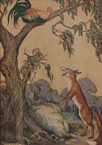 A color illustration depicting a hungry-looking wolf gazing up at a rooster in a tree