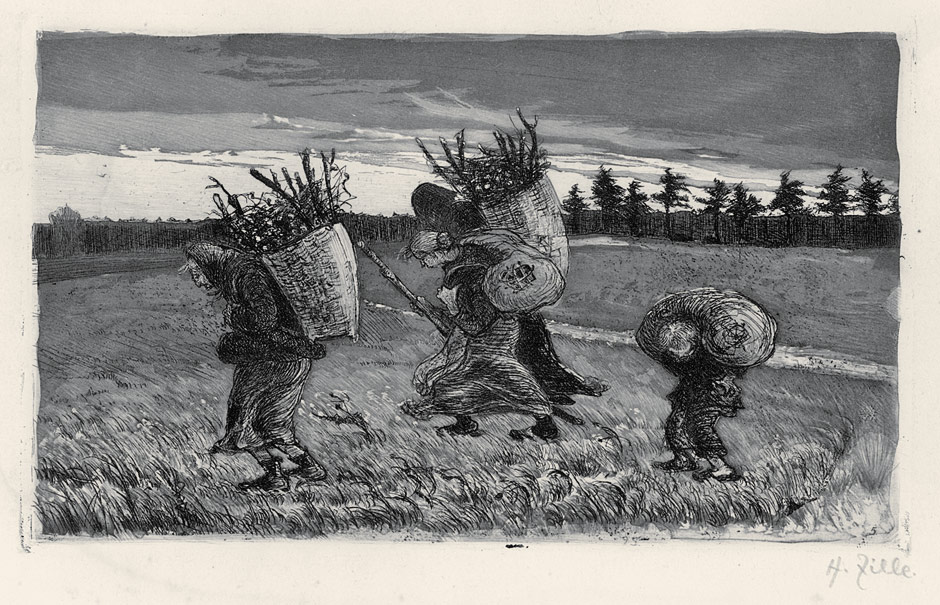 A black and white drawing of three people carrying bundles of sticks on their backs
