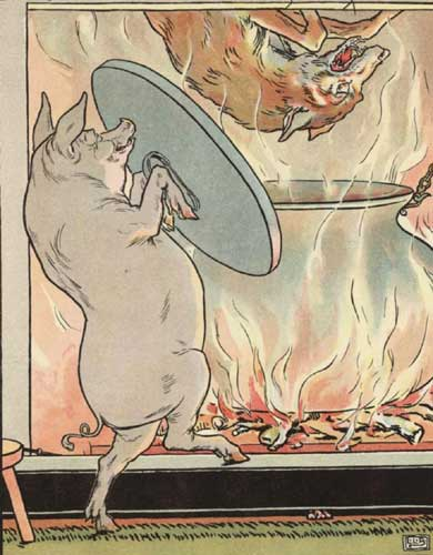 A colored illustration of the wolf falling down the chimney into the stew pot while the pig holds the lid ready to clamp down