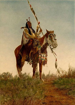 A painting of an American Indian Chief riding a horse. Both he and the horse are intricately decorated with beadwork and feathers. The Chief is holding a spear.